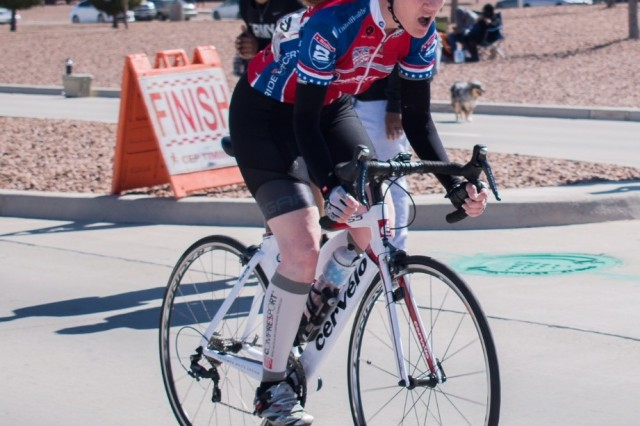 FORT BLISS, Texas (March 27, 2018) -- Maj. Christina Truesdale, Fort Benning Warrior Transition Battalion, crosses the finish line while medaling the cycling event during the Army trials held in March at Fort Bliss, Texas, March 7, 2018. She is among two others from Georgia joining the Army team to the Department of Defense Warrior Games in Colorado in June. (Courtesy photo by Sandra Melendez-Richard)