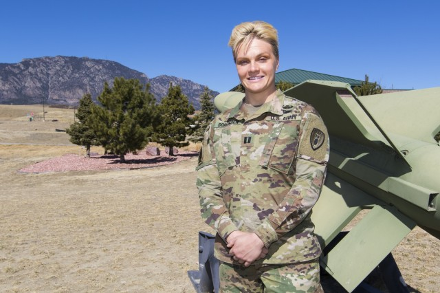 Capt. Ashley Sorensen, an adjutant for the 71st Ordnance Group (EOD), poses for a photo Mar. 16, 2018, at the Group's Headquarters. Sorensen's life-long pursuit of being the best version of herself has made her a figure of inspiration to others.