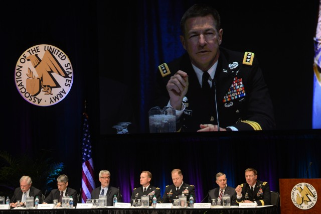 "Vice Chief of Staff of the Army Gen. James C. McConville speaks about the importance of Future Vertical Lift at the Association of the U.S. Army's Global Force Symposium and Exposition, March 27, 2018. Other members of the FVL panel are, from left: Gerry Graves, Ph.D., managing director, Vertical Lift Consortium; Michael J. Hirschberg, executive director, American Helicopter Society International; Jeffrey A. Drezner, Ph.D., senior policy researcher, RAND Corporation; Brig. Gen. Thomas H. Todd III, program executive officer, Aviation; Brig. Gen. Walter T. ""Wally"" Rugen, deputy commander, 7th Infantry Division and director, Future Vertical Lift Cross Functional Team; and moderator, retired Lt. Gen. William N. Phillips, vice president/SOF & Huntsville Customer Engagement, The Boeing Company."