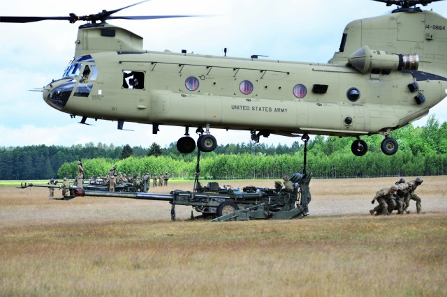Battle Group Poland U.S. Soldiers conduct sling-load training with the M777 Howitzer near the Bemowo Piskie Training Area during Saber Strike 17, June 7, 2017.