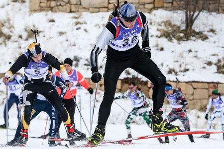 The pursuit event of the 2018 Chief National Guard Bureau Biathlon Championships combines 12.5 km of cross-country skiing for men and 10 km for women, around the Olympic course at Soldier Hollow, Utah, Feb. 26, 2018. Each competitor must also engage targets at the precision rifle marksmanship range in the prone and offhand firing positions.