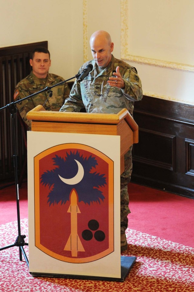 678th Air Defense Artillery Brigade uncases colors in Ansbach Germany