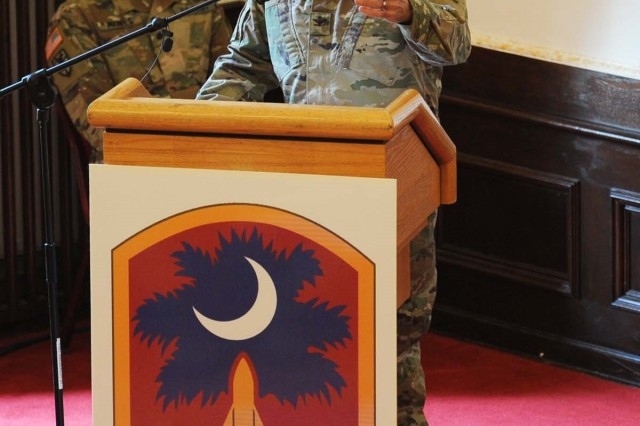 ANSBACH, Germany --Soldiers of the 678th Air Defense Artillery Brigade (678th ADA), officially uncased their colors in a ceremony at the U.S. Army Garrison Ansbach (USAG Ansbach) Von Steuben Community Center on Bismarck Kaserne March 27. During the ceremony U.S. Army Colonel Richard A. Wholey, Jr, commander of the 678th Air Defense Brigade (678th ADA), South Carolina National Guard and Command Sgt. Maj. Anthony P. Collins, brigade command sergeant major of the 678th Air Defense Brigade uncased the colors, witnessed by more than 100 Soldiers, Family members as well as German and American community leaders in attendance. Addressing the assembled during the ceremony, Col. David Shank (pictured), 10th Army Air and Missile Defense Commander, Deputy Chief of Staff, G3, representing the Adjutant General of South Carolina.