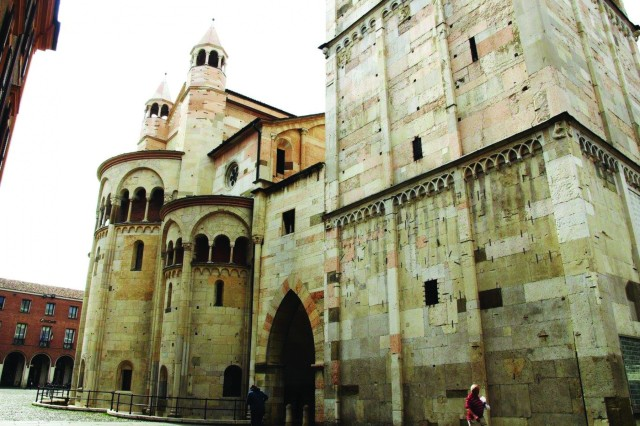 The Modena Cathedral, or Duomo di Modena, is a Roman Catholic cathedral dedicated to the Assumption of the Virgin Mary and Saint Geminianus. The saint's remains are exhibited in the cathedral's crypt.