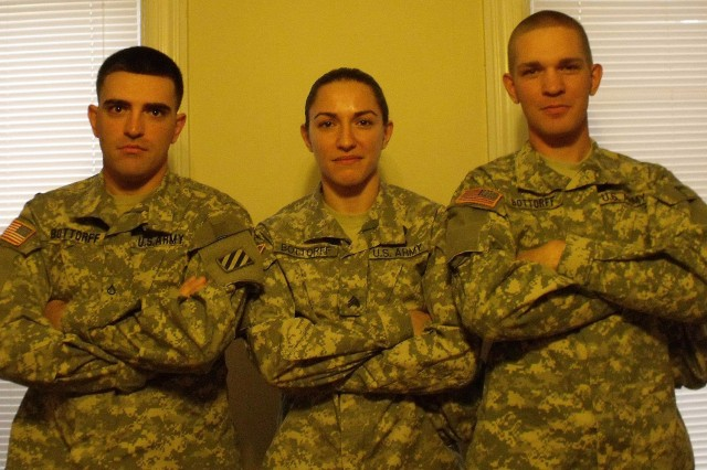 Staff Sgt. Justine Bottorff with her younger brothers Max (left) and Taylor (right). After Justine enlisted in the Army in 2006, both of her younger brothers followed her into the service. Max finished six years of active duty while Taylor, now a Sergeant graduated from the Army's Ranger and Infantry schools. Justine is currently a reservist.