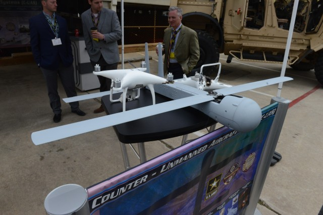 A Coyote Anti-UAS Block 1B is on display at the Association of the U.S. Army's Global Force Symposium and Exposition, March 28, 2018 in Huntsville, Ala. The Coyote explodes on contact or near enemy UAS to take them out.