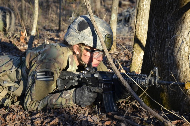2nd Lt. Dakota Farrer, 39th Brigade Engineer Battalion, Fort Campbell, Kentucky, participates in a patrolling exercise during the final week of the Sapper Leader Course March 5 at Fort Leonard Wood, Missouri. The Sapper Leader Course is the Army's premier leadership school for combat engineers.