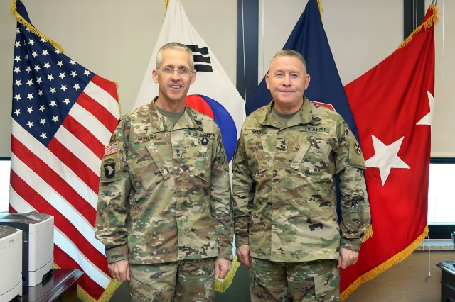 Chaplain (Maj. Gen.) Paul K. Hurley, U.S. Army Chief of Chaplains, visited U.S. Army Garrison Humphreys and had breakfast with Lt. Gen. Michael A. Bills, Eighth Army commanding general, at Eighth Army Headquarters, U.S. Army Garrison Humphreys, Republic of Korea, Mar. 28. During his visit to the Republic of Korea, Hurley discussed religious support with Eighth Army and ROK Army senior leaders.