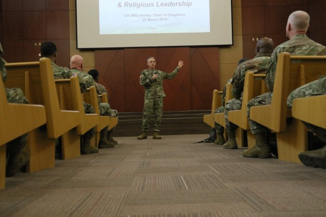 Chaplain (Maj. Gen.) Paul K. Hurley, U.S. Army chief of chaplains, gives remarks to UMT University at Freedom Chapel, U.S. Army Garrison Humphreys, South Korea, March 28. The purpose of this visit was to communicate his leadership vision to chaplains and religious affairs specialists.