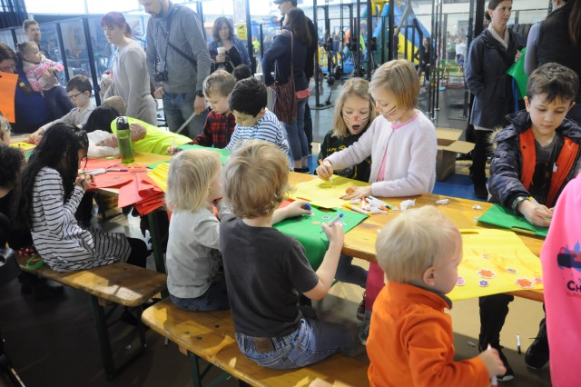 Children decorate bags during Child, Youth and School Services' Eggstravaganza on Chièvres Air Base, Belgium, March 24, 2018. The event was an opportunity for the U.S. Army Garrison Benelux and SHAPE communities to celebrate the beginning of springtime and Easter.