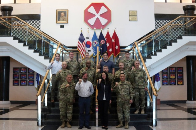 Kim Lehn and Spencer Johnson, House Armed Services Committee staff members, visit Eighth Army Headquarters in U.S. Army Garrison Humphreys, South Korea, March 30. Lehn and Johnson visited Eighth Army to learn more about the Eighth Army's current resources, plans, and operations.