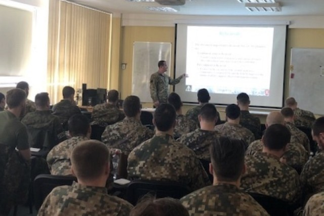 The Latvian National Armed Forces (NAF) Land Force Infantry Brigade Tactical Air Control Party (TACP) ran their annual qualification development course March 20 -- 29, 2018, at the Latvian Defense Academy, Riga, Latvia for both certified Joint Terminal Attack Controllers (JTACs) and candidates for this position.