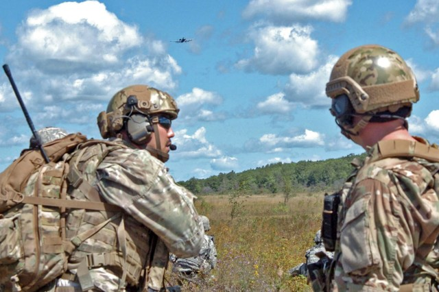 Joint Terminal Attack Controller (JTAC) from Latvia, Illinois, North Carolina and Michigan that are a part of the state partnership program worked together to direct air strikes to simulate suppressing the enemy with pinpoint accuracy during Operation Northern Strike at Grayling Air Gunnery Range in August 2014.
