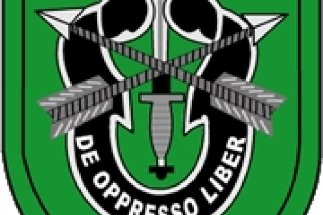 Pictured is a rendering of the current 10th Special Forces Group (Airborne) insignia and flash. (Courtesy of the Fort Carson website)