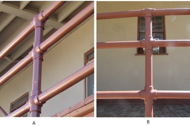 Porch replacement on three historic cavalry barracks in the Fort Huachuca Historic District led to replacement of original handrails.  The Cultural Resources Manager initiated rail restoration through a local metalworker to mitigate the adverse effect.  The innovative restoration project resulted in (A) replica metal handrails with manufactured fittings that are almost identical to (B) the original historic metal handrails.