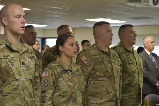 Army Maj. Terri Rae Lopez-Homestead stands among the nine 100th Missile Defense Brigade (GMD) Soldiers who were honored during a Dec. 5, 2017, graduation ceremony at 100th MDB Headquarters in Colorado Springs, Colo., to recognize their successful completion of the Ground-based Midcourse Defense Fire Control Operator Qualification Course (GQC). Homestead is now serving as the first female tactical crew director of a missile defense crew at Fort Greely, Alaska. (U.S. Army National Guard photo by Capt. Jennifer Beyrle/Released)