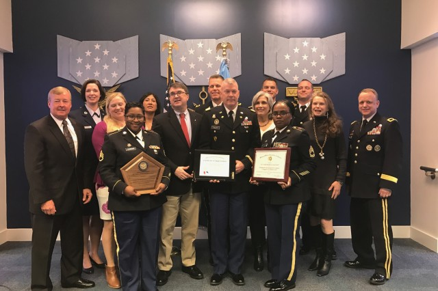 Soldiers and civilians of the family readiness group from 1st Brigade, 98th Training Division (Initial Entry Training) were awarded the 2017 Department of Defense Reserve Family Readiness Award at the Pentagon in Washington, D.C. March 23, 2018.
