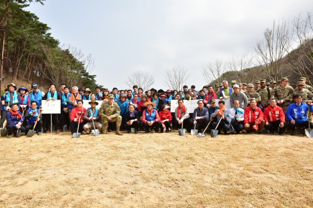 ANSEONG CITY, Republic of Korea -- More than 20 Soldiers from the 2nd Infantry Division/ROK-U.S. Combined Division joined Anseong City community members to plant trees throughout Seounsan Recreational Forest Apr. 3. The tree-planting and ceremonial celebration are related to the upcoming Republic of Korea holiday, Sikmogil, which is April 5. Volunteers planted more than a hundred trees throughout the park. The event demonstrates the strength of the ROK-U.S. alliance through community partnership.
