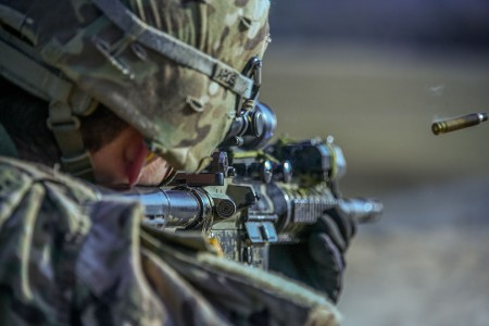 A U.S. Soldier participates in the British best detachment competition at the 7th Army Training Command's Grafenwoehr training area, Germany, March 1, 2018.