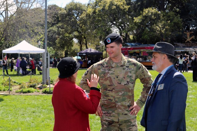 Spc. Yehuda Feinstein, C Co., 1st Battalion, 327th Infantry Regiment, 1st Brigade Combat Team, 101st Airborne Division (Air Assault), meets with Mayor Rick Bonilla and his wife Suzanne, during a hosted lunch event, March 24, 2018 in San Mateo, California. The lunch was just one of the events that took place throughout the nine cities, who hosted 1st BCT, in celebration of the 50 years of connections between the 101st and cities of San Mateo County, California.