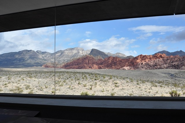 A panoramic view of the canyons can be seen March 15 from inside the visitor's center at Red Rock Canyon National Conservation Area near Las Vegas. About 30 U.S. Army Corps of Engineers geologists and technicians participated in a paleoflood exercise and hiked the Keystone Thrust Fault trail as part of a capstone event to the 2018 Geotechnical, Geology and Materials Community of Practice National Training Event March 13 to 15 in Boulder City, Nevada.