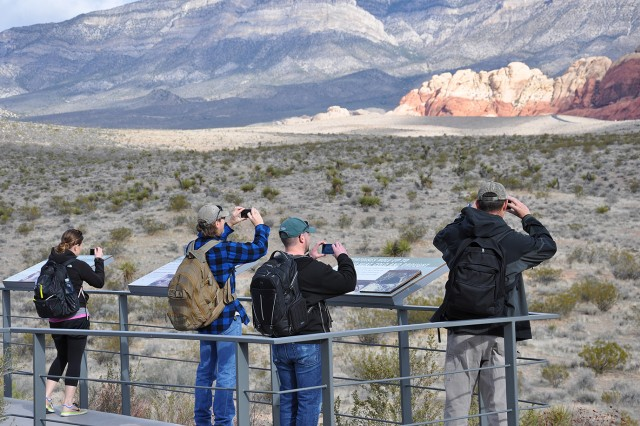 U.S. Army Corps of Engineers geologists and technicians from across the nation take in the view before hiking the Keystone Thrust Fault trail and participating in a paleoflood exercise during a March 15 visit to Red Rock Canyon National Conservation Area near Las Vegas. The tour of the conservation area was part of a capstone event concluding the 2018 Geotechnical, Geology and Materials Community of Practice National Training Event March 13 to 15 in Boulder City, Nevada.