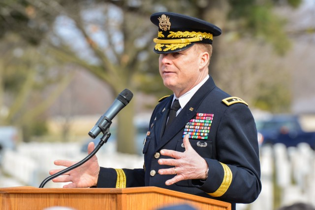 Maj. Gen. Duane Gamble, commanding general, U.S. Army Sustainment Command and RIA senior mission commander, gives remarks during the National Vietnam War Veterans Day observance at Rock Island National Cemetery, March 29. (Photo by Linda Lambiotte, ASC Public Affairs)
