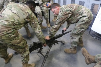 Pvt. Jeremiah Deck, A Co., 1st Battalion, 30th Infantry Regiment, 2nd Armored Brigade Combat Team, 3rd Infantry Division assembles an M2 machine gun (.50 caliber) at Fort Stewart, Ga., Oct. 12, 2017. Heavy weapons proficiency is a priority as the bri...