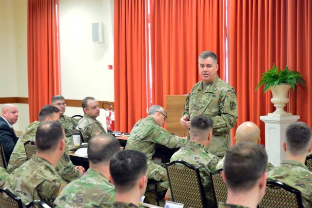 Maj. Gen. Christopher Ballard, commanding general, U.S. Army Intelligence and Security Command (INSCOM), addresses 207th Military Intelligence Brigade (Theater) during Lightning Week, at the Golden Lion Club, Caserma Ederle, Italy, March 13. Lightning Week is a week-long series of organizational development events to foster discussions amongst leaders' to improve brigade priorities and readiness.