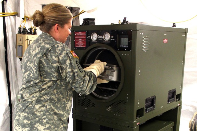 In October 2015, USAMMA began fielding the modernized P2131 Automated Field Steam Sterilizer for combat support hospitals. The new system uses only 10 gallons of water to process up to 100 loads of sterilized medical instruments, greatly saving water compared with the previously fielded steam sterilizer. USAMMA plans to modernize more than a dozen other systems over the next two years, outfitting medical personnel with gear that will keep warfighters in the mission.