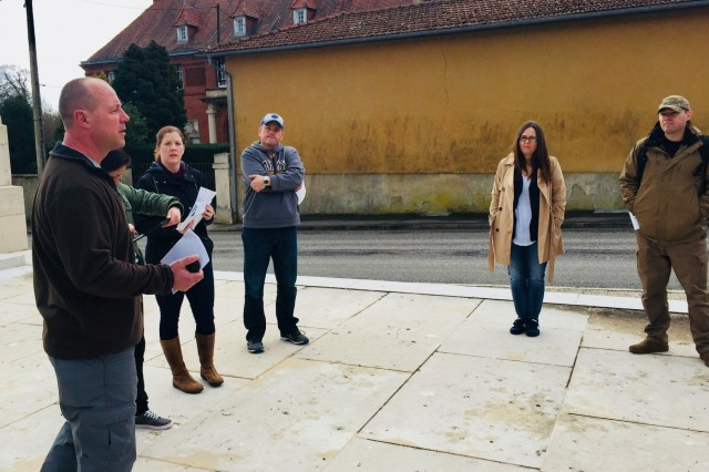 Maj. Bret Barnes (far left), 773rd Civil Support Team Deputy Commander, briefs on Kaiser Wilhelm II involvement and wartime considerations during Meuse-Argonne Offensive during World War I during a unit staff ride in Meuse-Argonne, France, March 29. (Courtesy photo)