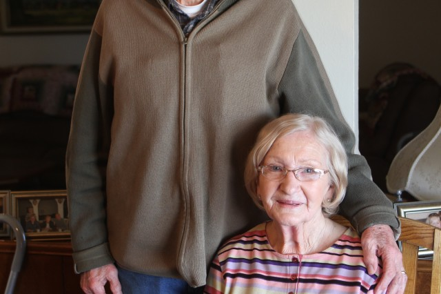 Retired Chief Warrant Officer 3 Richard Wilkinson, left, and his wife Zitta Wilkinson met in Germany while Richard was sergeant. The two have been married for 68 years. They live in Lawton, Oklahoma.