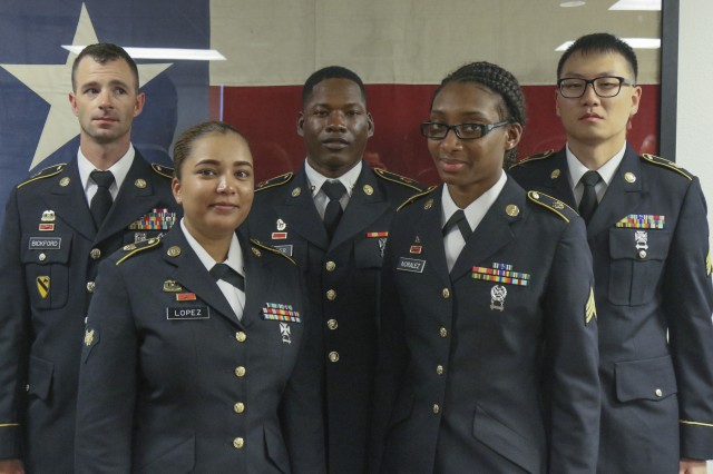 FORT HOOD, Texas--Five soldiers from 1st Cavalry Division Sustainment Brigade participate in the NCO and Soldier of the Year competition held at Fort Hood, Texas, March 30.