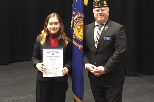 "Carsyn Shuey won the won the AmericanLegion ""Flanders Field"" Post BE02's contest in December 2017 and then earned first place in the Department of France competition in February. She will represent U.S. Army Garrison Benelux in the American Legion National Oratorical Competition in Indianapolis, Indiana, in April, where 52 other contestants and she will compete for an $18,000 scholarship."