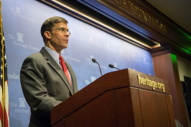 Secretary of the Army Dr. Mark T. Esper speaks at the Heritage Foundation, April 5, 2018.
