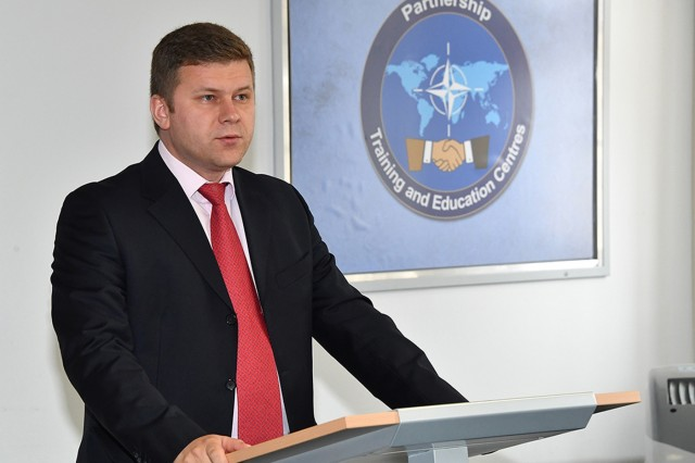 GARMISCH-PARTENKIRCHEN, Germany (April 3, 2018) - Gheorghe Badia, deputy head of On-site Banking of the Supervision Division at the National Bank in Moldova, talks about how his confidence in speaking English improved during the past five weeks at the English Language Enhancement Course at the George C. Marshall European Center for Security Studies April 3. (Marshall Center photo by Karl-Heinz Wedhorn)