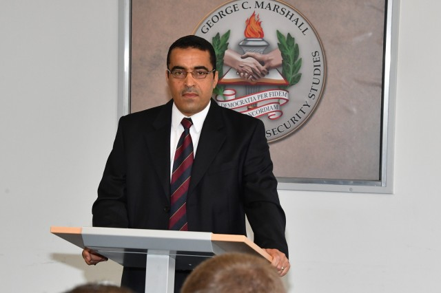 GARMISCH-PARTENKIRCHEN, Germany (April 3, 2018) - Maj. Heni Ben Youssef, chief of the Intelligence and Investigation Section of the Ministry of Defense in Tunisia, talks about how his confidence in speaking English improved during the past five weeks at the English Language Enhancement Course at the George C. Marshall European Center for Security Studies April 3. (Marshall Center photo by Karl-Heinz Wedhorn)