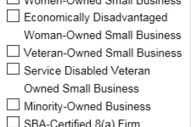 This screenshot shows the small disadvantaged business categories a shopper can choose to buy from on the Amazon Business portal. By checking one or all of the boxes, users see vendors with those credentials. If an organization needs to buy its office supplies from a particular category—to meet the required percentage of purchases from small businesses, for example—a buyer from the organization can filter options by checking the appropriate boxes.