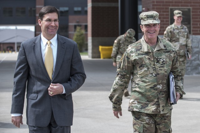 The 23rd Secretary of the Army, Dr. Mark T. Esper, and the Deputy Chief of Staff, Army G-1, Lt. Gen. Thomas C. Seamands met with the senior leadership of the U.S. Army Human Resources Command, located at the Lt. Gen. Timothy J. Maude complex on Fort Knox, Ky. to discuss talent management, April 6, 2018. While there Esper was given a firsthand look at the officer assignment process from start to finish through the Assignment Interactive Module 2.0, or AIM 2. To meet the challenges of the future, the Army is moving from a plug and play type system where Soldiers are merely allocated and distributed based upon the needs of the Army to one where Soldiers and civilians are more deliberately managed and reassigned based upon their special skill sets.(U.S. Army photo by Master Sgt. Brian Hamilton/ released)