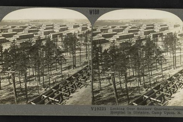"""This stereopticon photo from 1919 shows Camp Upton, N.Y., the Long Island training camp where the 77th Division trained before deploying to France in March and April 1918. The 77th Division was made up of draftees from New York City and was initially known as the """"Metropolitan Division"""" (Photo from the Library of Congress.)"""