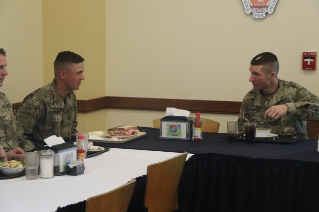 Sgt. Maj. of the Army Daniel A. Dailey had lunch with 16 1st Stryker Brigade Combat Team, 4th Infantry Division Soldiers at Stack Dining Facility, March 15, 2018. Soldiers had the opportunity to ask Dailey questions directly while sharing a meal. (U.S. Army photo by Staff Sgt. Chris Perkey, 1SBCT, Public Affairs)