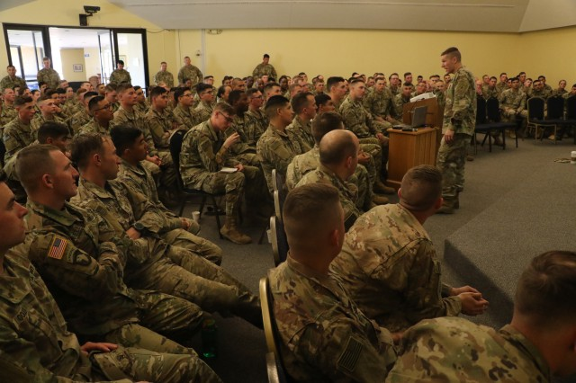 Sgt. Maj. of the Army Daniel A. Dailey held a town hall meeting with Soldiers of 1st Stryker Brigade Combat Team, 4th Infantry Division, March 15, 2018 at Veterans Chapel on Fort Carson. Dailey shared his SMA initiatives and explained their significance  followed by a Q&A session for the Soldiers. (U.S. Army photo by Staff Sgt. Chris Perkey)