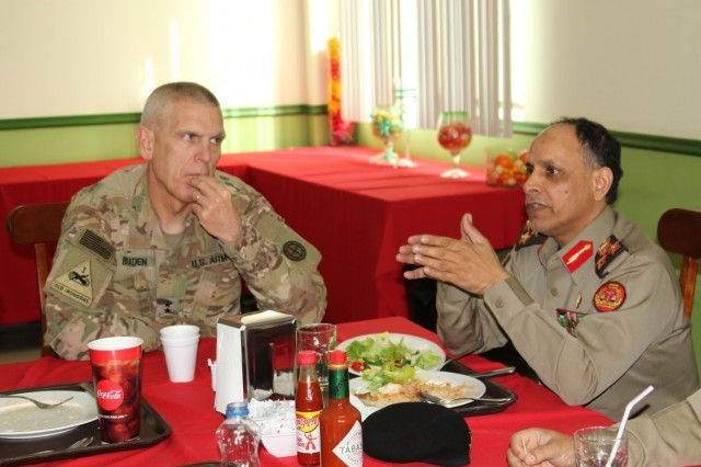 The 35th Infantry Division hosts a luncheon at the Oasis dining facility with the Kuwait Armed Forces Military Justice Authority Jan. 17. The legal teams met to discuss legal cooperation between the two countries and building a lasting partnership for the future. Maj. Gen. Victor Braden & Brig. Gen. Mubarak Al Khurainij discussed matters of legal cooperation.