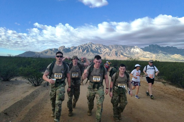 Indiana National Guard soldiers compete in the Bataan Memorial Death March at the White Sands Missile Range, New Mexico, March 25, 2018.