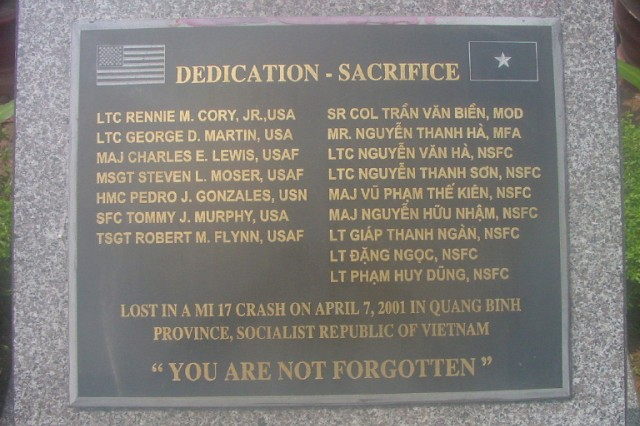 Memorial plaque for Sgt. 1st Class Tommy Murphy and 15 others who were killed in a helicopter crash in Vietnam in 2001 while conducting a mission for the Defense POW/MIA Accounting Agency.
