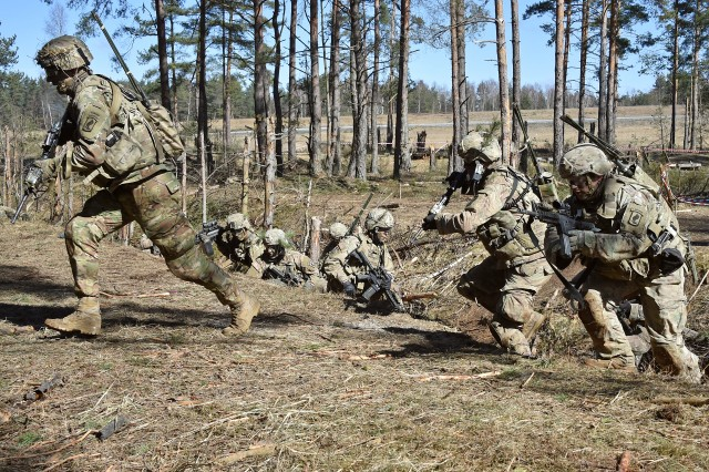 U.S. Army Paratroopers with 2nd Battalion, 503rd Infantry Regiment, 173rd Airborne Brigade run forward during a platoon level live fire exercise at the 7th Army Training Command's Grafenwoehr Training Area, Germany, March 21, 2018. The Army is looking to extend Infantry one-station unit training from 14 to 21 weeks under a pilot program beginning in July.
