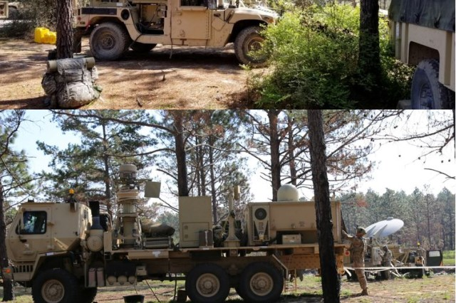 Soldiers from the 2nd Brigade Combat Team, 101st Airborne Division (Air Assault) use this Tactical Communications Node-Lite, top photo, and the TCN-Heavy, bottom photo, during their combat training center rotation at the Joint Readiness Training Center at Fort Polk, Louisiana, on March 20, 2018.