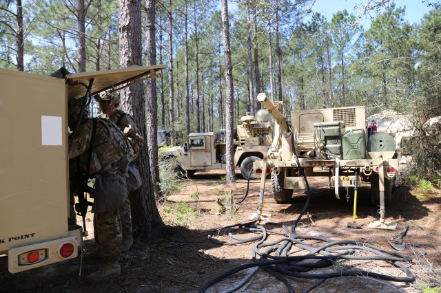 The 2nd Brigade Combat Team, 101st Airborne Division (Air Assault) was the first unit to fight with Tactical Communications Node-Lite during a combat training center rotation at the Joint Readiness Training Center at Fort Polk, Louisiana, on March 20, 2018. The TCN-L is seen center, with supporting Satellite Transportable Terminal (left) and its trailer with a generator an additional extending line-of-sight mast.