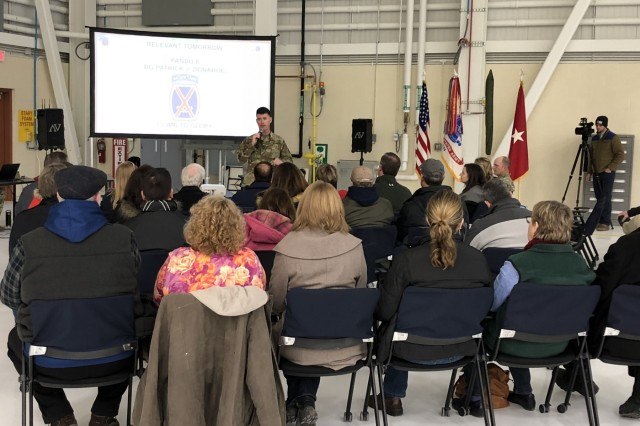 Brig. Gen. Patrick Donahoe, 10th Mountain Division (LI) and Fort Drum acting commander, addresses local officials, members of the media and invited guests April 9 before boarding UH-60 Black Hawks to get a different perspective of the 10th Combat Aviation Brigade's upcoming Falcon's Peak training exercise. (Photo by Kae Young, Fort Drum Garrison Public Affairs)