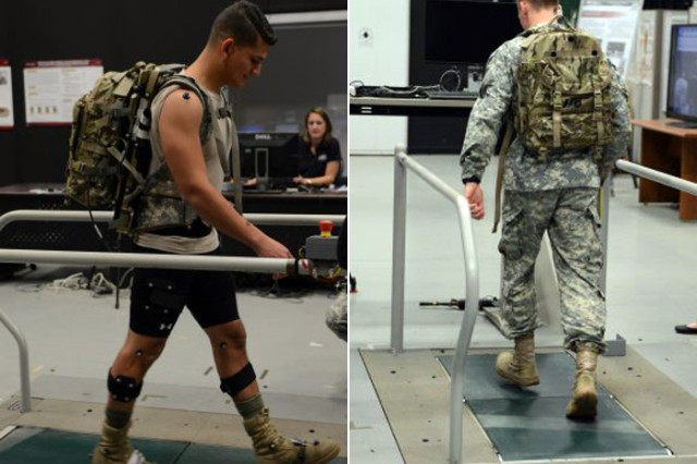 Solider volunteers test the Energy Harvesting Assault Pack at the Army Research Lab in Adelphi, Maryland, using different speeds, inclines and loads to determine how well the backpack charges the battery and to measure body fatigue based on breathing measurements.
